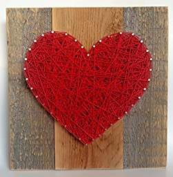 Large Red string art wooden heart sign. A unique gift for Mother\'s Day, Weddings, Anniversaries ,Birthdays, Valentine\'s Day, Christmas, new babies, house warming and just because.