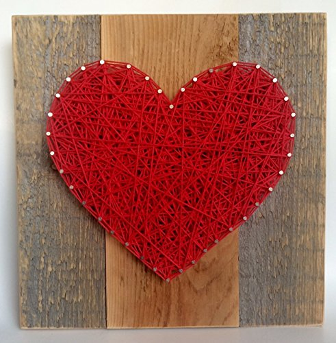 Large Red string art wooden heart sign.  lovely red wall art