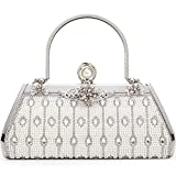 Women Clutch Bag Rhinstone and Artificial Pearls Decorative Sparkling Vintage Classic Evening Shoulder Bag Girls Ladies Silver Elegant Compact Handbag Purse For Weddings Parties Ceremony (Silver 2)