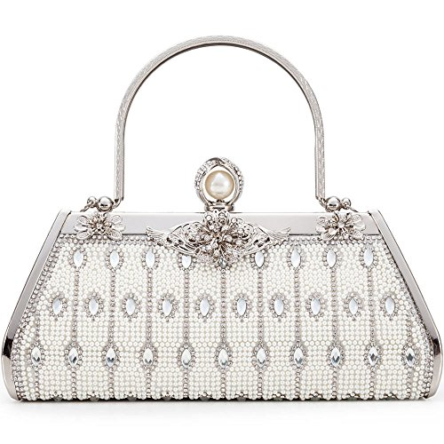 (Women Clutch Bag Rhinstone and Artificial Pearls Decorative Sparkling Vintage Classic Evening Shoulder Bag Girls Ladies Silver Elegant Compact Handbag Purse For Weddings Parties Ceremony (Silver 2))