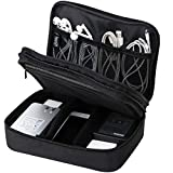 Waterproof 2 Layer Electronic Accessories Organizer Case, Travel Gadget Bag for Cables, USB Flash Drive, Powerbank, Earphone, Hard Disk etc, Multi-Size Zip Mesh Pouches, Adjustable divider, Black