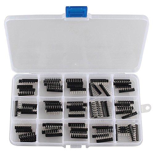 WINGONEER 75PCS 15Value 2.54MM Resistor Network Single 9Pins Bussed Type Assortment Kit 100 Ohm-100K ohm