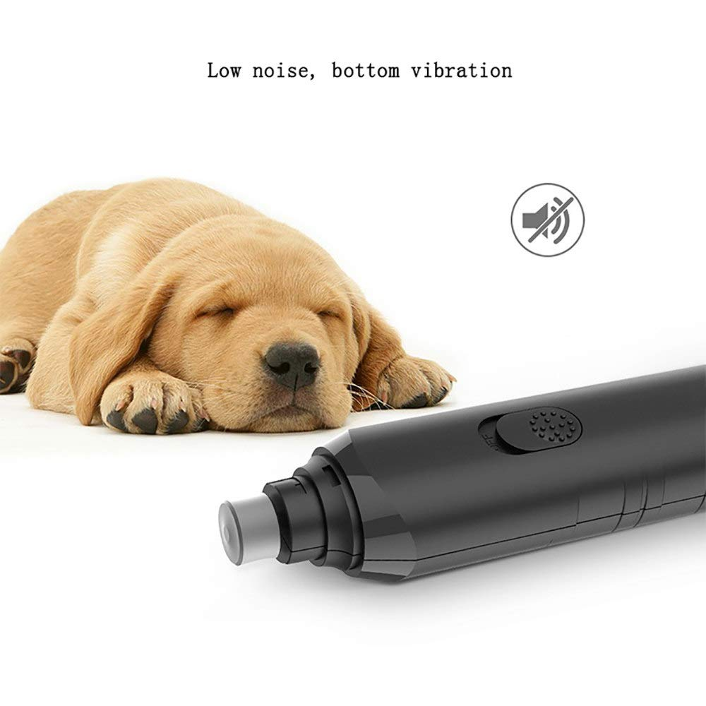 ZNZN Electric Dog Nail Grinder, Ultra Quiet Dog Nail File,Professional Nail Clippers for Small/Medium/Large Dogs Cats Pets,with 2 AA Size Batteries,Black