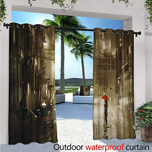 Urban Outdoor Privacy Curtain for Pergola W84 x L96 Woman with Red Umbrella in Street at Rainy Night in Town Shadow Urban Scenery Artwork Thermal Insulated Water Repellent Drape for Balcony Sepia -