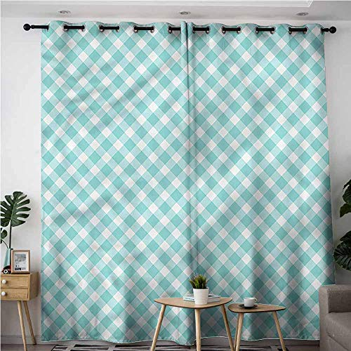 BE.SUN Extra Wide Patio Door Curtain,Aqua,Vintage Gingham Pop Art Retro,Darkening Thermal Insulated Blackout,W108x108L