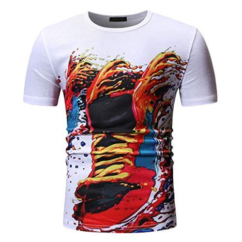 fcf6de0ab4a7 2019 Mens Shirts Deals ! Fashion Men's Summer Casual Short Sleeve O-Neck  Shirt Printed T-Shirts Tops White