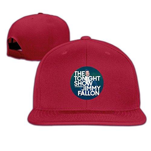 HmkoLo Jimmy Fallon Show Cotton Flat Bill Baseball Cap Snapback Hat Unisex Red