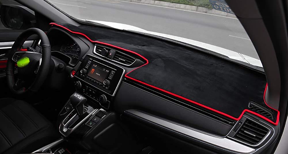 Leegi CRV Dash Mat Protector Sunshield Cover Carpet Flannel Custom Fit Dashboard Cover Fit for 2017 2018 2019 Honda CRV,Black with Black