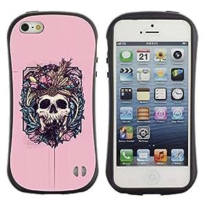 Suave TPU GEL Carcasa Funda Silicona Blando Estuche Caso de protección (para) Apple Iphone 5 / 5S / CECELL Phone case / / Pink Skull Fangs Death Bones Floral /