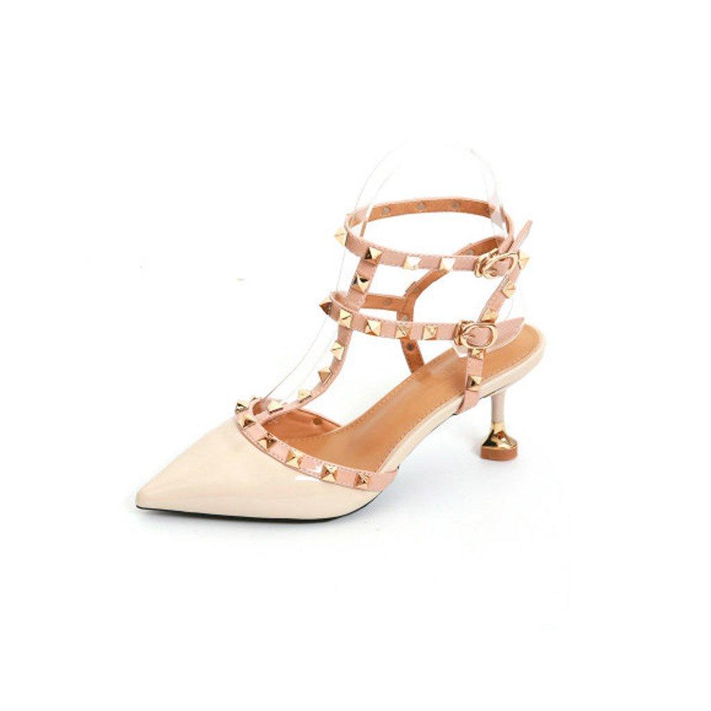 JIANXIN Frauen High Heel Und Fein Und Lackleder Lackleder Lackleder Bonbonfarbenen Sandalen Mit Nieten Und T-Typ Verschluss Sexy Wrap. (Farbe   Weiß, größe   EU 35 US 5 UK 3 JP 22.5cm) 0aa8cb