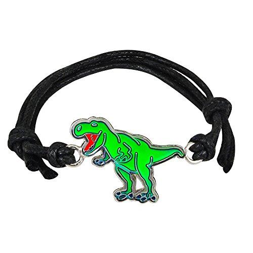 Fun Jewels Handmade T-Rex Dinosaur Charm Color Change Mood Bracelet For Boys Girls Dino Jewelry