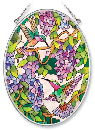 Amia Hand Painted Glass Suncatcher with Wisteria and Hummingbird Design, 5-1/4-Inch by 7-Inch Oval