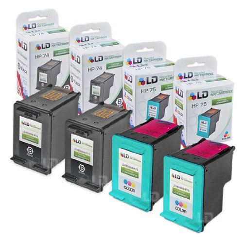 (LD Remanufactured Ink Cartridge Replacements for HP 74 & HP 75 (2 Black, 2 Color, 4-Pack))