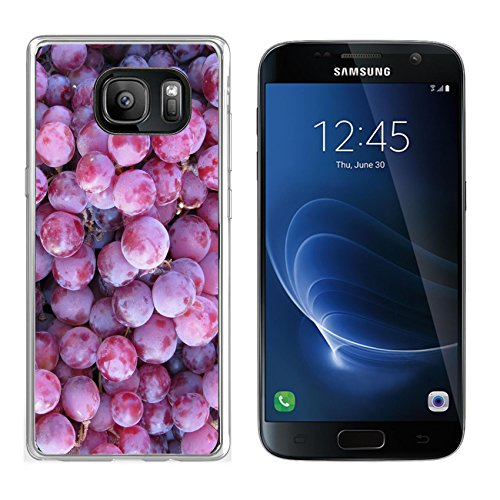 MSD Samsung Galaxy S7 Clear case Soft TPU Rubber Silicone Bumper Snap Cases IMAGE of food fruit red healthy organic grape background fresh sweet bunch plant vine nature berry wine