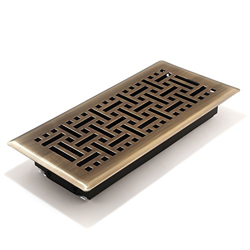- Accord AMFRABB410 Floor Register with Wicker Design, 4-Inch x 10-Inch(Duct Opening Measurements), Antique Brass