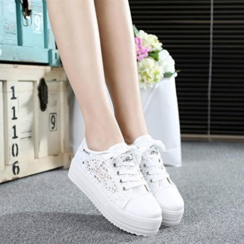 Hollow Sneaker Canvas Out Shoes Tenworld Fashion Platform Lace White Women's Casual nxzaRX