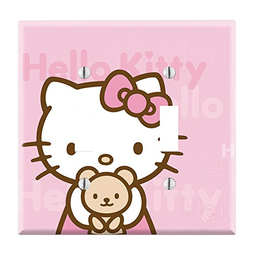 Dual Toggle Wall Switch Cover Plate Decor Wallplate - Hello Kitty Pink Teddy Bear (Teddy Switchplate)