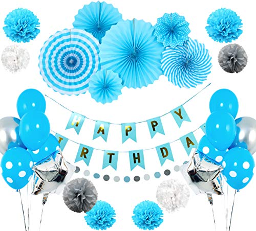 Blue Birthday Party Decoration Set for Boys - Happy Birthday Flag Banner, Blue Paper Fans, Dots Paper Garland, Colorful Balloons & Tissue Pompoms - 29-Piece Boy Birthday Party Decor Supply Kit