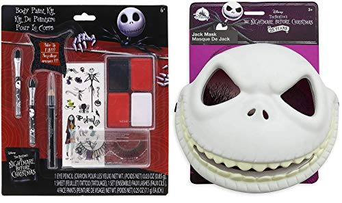 Spooked Out Mask NBC Nightmare Before Christmas Pack Dress Up Sally & Jack Skellington Pumpkin King Mask Playset + Spooky Body Face Paint / Temporary Tattoos Bundle ()