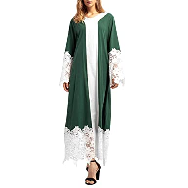 090023c00 DEATU Ladies Dress, Womens Lace Patchwork Long Sleeve Middle East Loose  Maxi Robe Dresses at Amazon Women's Clothing store: