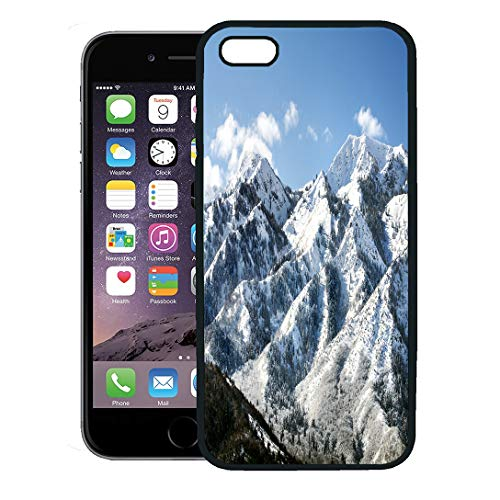 Semtomn Phone Case for iPhone 8 Plus case Cover,Utah Wasatch Mountains in Ogden Just North of Salt Lake City Which is Popular for Skiing Snowboarding,Rubber Border Protective Case,Black
