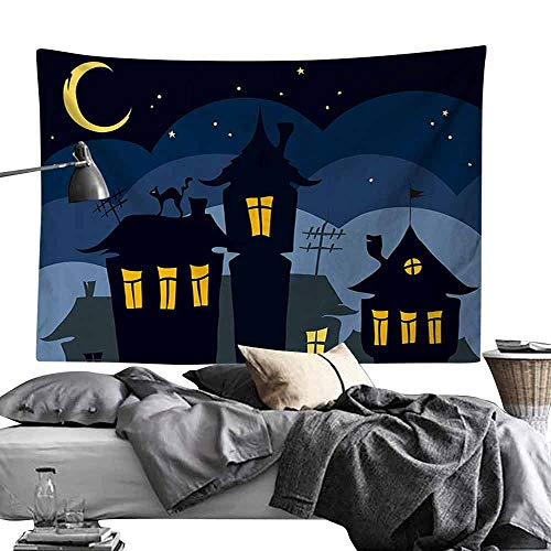 Homrkey Decorative Tapestry Halloween Old Town with Cat on The Roof Night Sky Moon and Stars Houses Cartoon Art Wall Hanging W60 x L40 Black Yellow Blue -