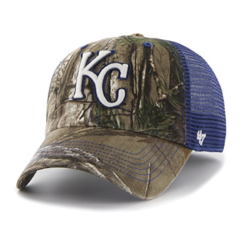 MLB Kansas City Royals '47 Huntsman Closer Camo Mesh Stretch Fit Hat, One Size, Realtree Camouflage