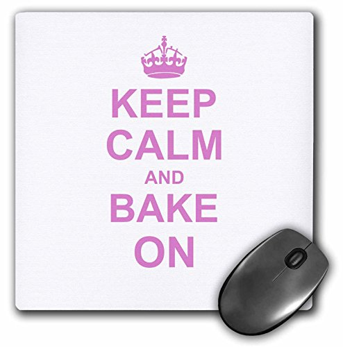 Price comparison product image 3dRose Keep Calm and Bake on Funny Humor Pink Text Design for Baking Hobbyists Bakers and Bakery Owners Mouse Pad (mp_157638_1)
