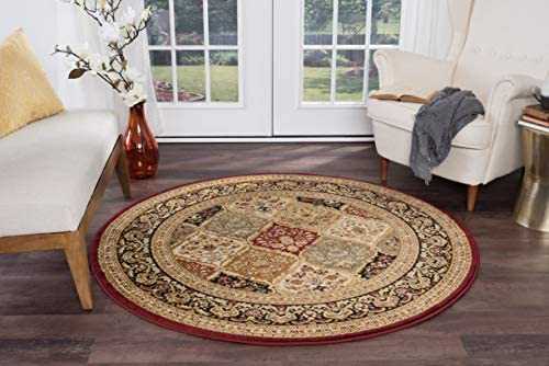 Princeton Traditional Oriental Red Round Area Rug, 8 Round
