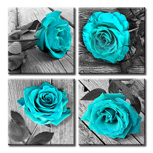 Canvas Wall Art for Living Room - Teal Black and White Rose Floral Painting Pictures - Big Modern Flower close up - Multi Panel Canvas Wall Art for Bedroom Home Decoration - Ready to Hang