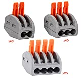 HIFROM Wire Compact Connectors 2 3 4 Port Lever-Nut Lever Conductor PCT-212 PCT-213 PCT-214 Terminal Block Wire Push Cable Connector for Junction Box Assortment Pack (105 PCS)