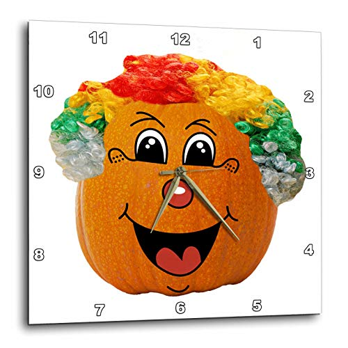 3dRose Sandy Mertens Halloween Food Designs - Jack o Lantern Funny Clown Face Halloween Pumpkin, 3drsmm - 10x10 Wall Clock (dpp_290217_1) -