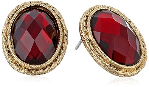1928 Jewelry Gold-Tone Siam Red Faceted Oval Button Stud Earrings - Gold Tone Button Earrings