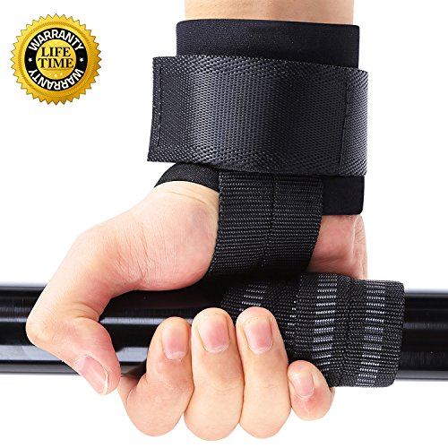 [Lifting Straps with Neoprene Padded No-Slip Weightlifting Hand Bar, Wrist Supports Hook Wraps Assist Grip Strength for Bodybuilding, Strength Training, PowerLifting, One Pair (Big Grip Pro)] (Neoprene Bar)