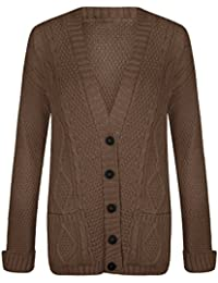 Womens Long Sleeves Plus Size Cable Chunky Knitted Grandad Button Cardigan (US 4 To US