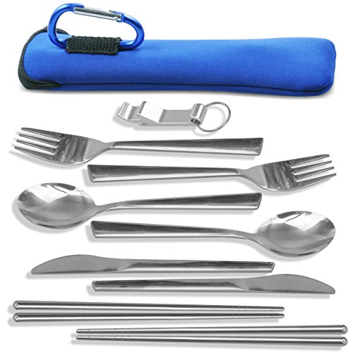 Camping Eating Utensils Kit - 2-Person Stainless Steel Utensils Set With Neoprene Case, Backpack Hanging Carabiner, Chopsticks & Bottle Opener - By TravelSource
