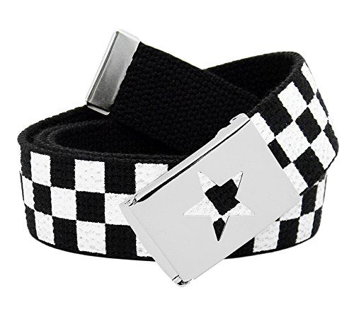 Girl's Star Silver Flip Top School Uniform Belt Buckle with Canvas Web Belt X-Large Checkered