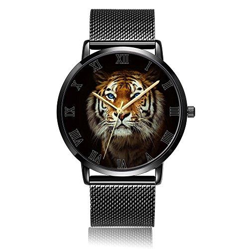 (Whiterbunny Customized Tiger Wrist Watch Unisex Analog Quartz Fashion Black Steel Strip/Black Dial Plate for Women and Men)