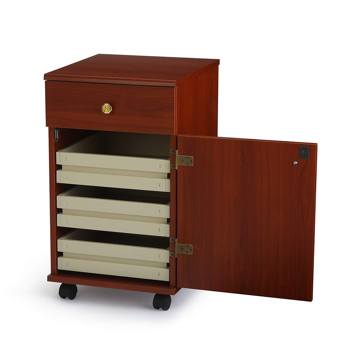 Arrow Sewing Cabinets 802 Suzi, Four Drawer Sewing Storage Cabinent, Cherry