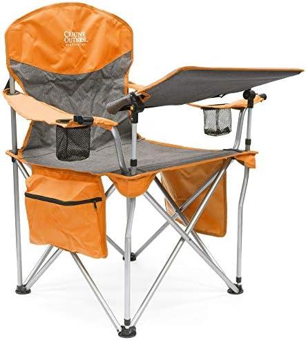Creative Outdoor iChair Folding Wine Chair with Adjustable Table, Orange Gray