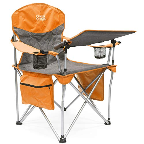 Creative Outdoor iChair Folding Wine Chair with Adjustable Table, Orange/Gray