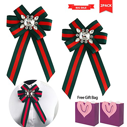 Rhinestone Crystal ribbon brooches Bow Brooch Pre Tie Bow for Women Wedding Party Bow Tie (2PACK GREEN) ()