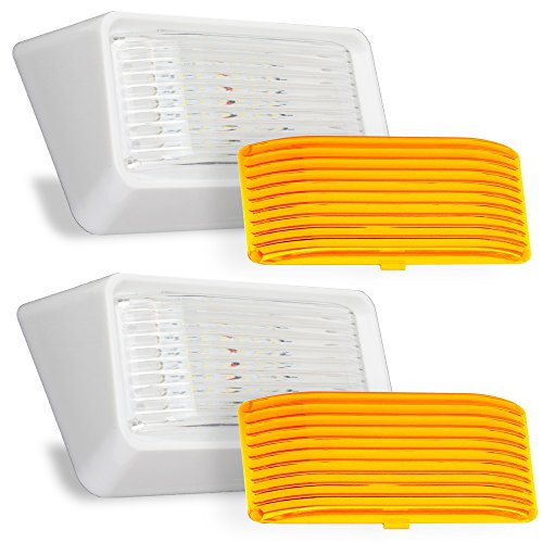 Fifth Wheel Camper - LED RV Exterior Porch Utility Light - 12v 280 Lumen Lighting Fixture. Replacement Lighting for RVs, Trailers, Campers, 5th Wheels. White Base, Clear and Amber Lenses Included (White, 2-Pack)