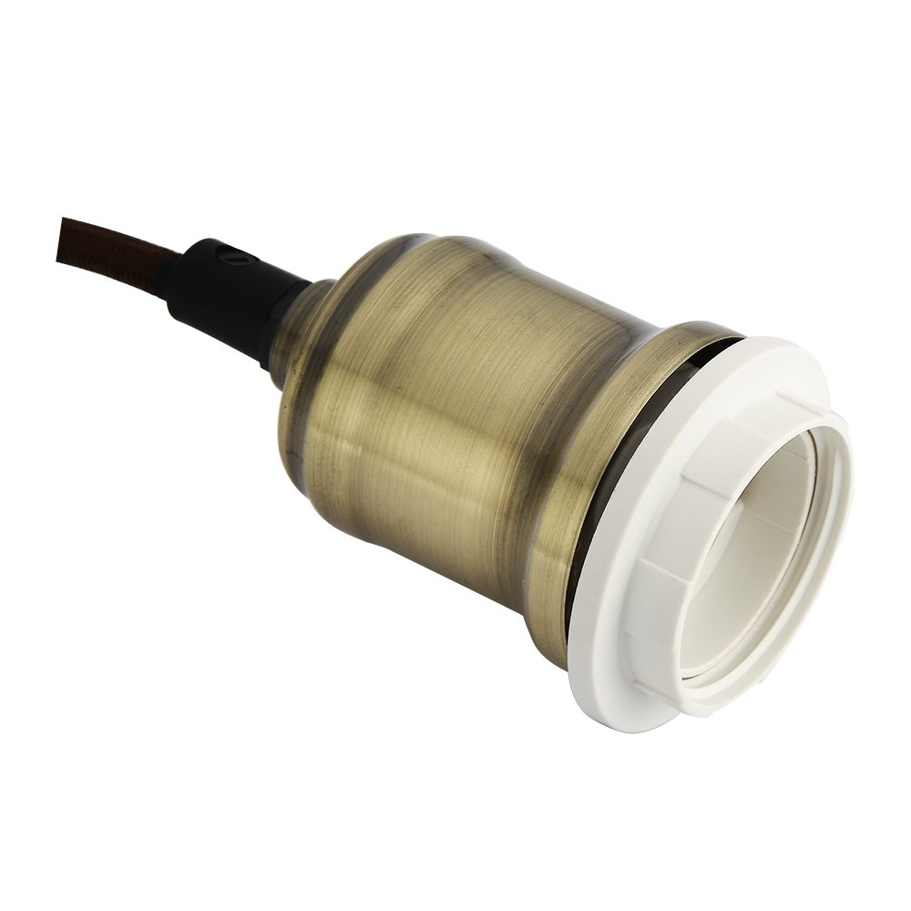 metal E27 60.0W Satin Nickl Juego de portal/ámparas flexible trenzado para l/ámparas colgantes