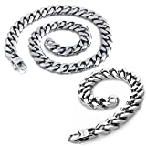 Dancing Stone Jewelry Stainless Steel Necklace Bracelet Set Cuban Curb Chain 9mm-13mm