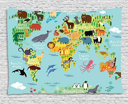 - Ambesonne Wanderlust Tapestry, Animal Map of The World for Children Kids Cartoon Mountains Forests, Wall Hanging for Bedroom Living Room Dorm, 60 W X 40 L Inches, Pale Blue