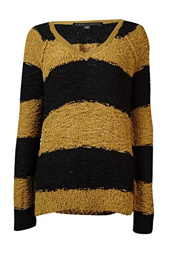 Sanctuary Womens Boucle Knit V-Neck Sweater Brown S