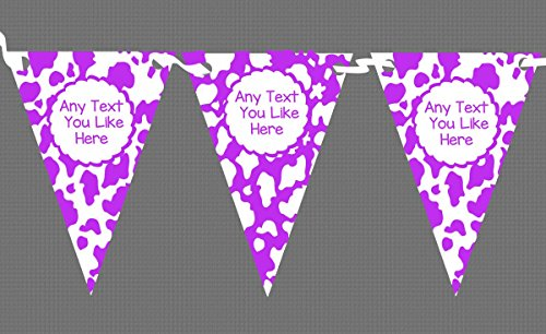 Cow Print Animal Purple White Personalised Children's Birthday Party Bunting by The Card Zoo