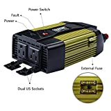 (ETL Approved) ERAYAK 300W Car Power Inverter Dual US Outlets,2.1A USB Ports w/ Car Cigarette Lighter Cable & Alligator Clips Cable,DC12V to AC110V,for Laptops,DVD player,Cell Phones,Tablets-8125U