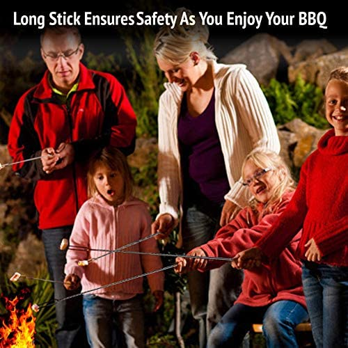 PANTRY X Marshmallow Roasting Sticks-Set of four Extendable 45 Inches Telescopic Stainless Steel Smores Skewers for Fire Pit, Metal Forks for Hot Dog/Camping/Campfires/Bonfire/Grill
